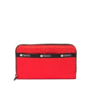 LeSportsac Taylor Zip Around Wallet New Firey Red